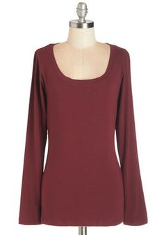 Simply Ink Top in Burgundy. Come see for yourself - wearing this burgundy cotton-blend top is as easy as signing your name! #red #modcloth