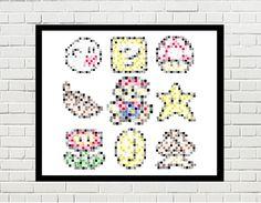 mario poster, mario art, mario print, mario pixel art, pixel art, super maro art poster, ? box, mushroom, ghost, coin, leaf by PixelDesignsUP