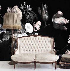 dark floral mural / wallpaper