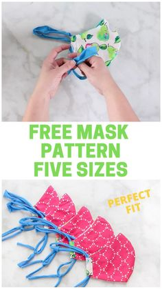 Sew a filtered mask with t shirt ties using the sweet red poppy free pattern with 5 different sizes for a perfect fit! sew 7 simple and cute small sewing projects Techniques Couture, Sewing Techniques, Diy Mask, Diy Face Mask, Homemade Face Masks, Sewing Patterns Free, Free Sewing, Pattern Sewing, Sewing Paterns