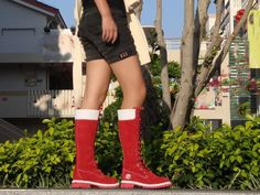 red and white timberland 14 inch long boots for women