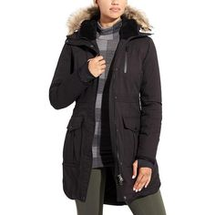 Athleta Women Iceland Parka (£285) ❤ liked on Polyvore featuring outerwear, coats, black, silver coat, water resistant coat, athleta, parka coats and insulated coat