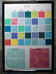 Dry Erase Calender made with a picture frame, paint chips, and scrapbook paper. I soooo need to make this bc I am ocd about when stuff is due and need to see it written! lol