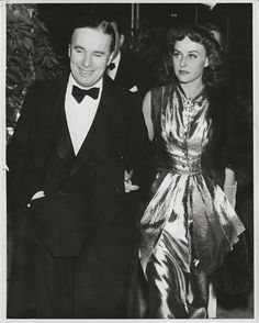"""Great shot of Charlie Chaplin & Paulette Goddard, taken during production of """"The Great Dictator"""", his hair dyed black."""