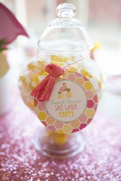 Salt water taffy from Flamingo + Flamingle Pineapple Party at Kara's Party Ideas. See more at karaspartyideas.com!