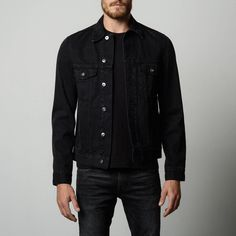 Mens Denim Jacket in Worn Black