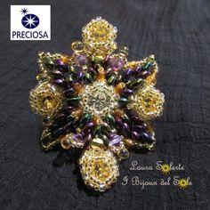 Anello Fantasy Flower realizzato per la May Preciosa Competiton con perline e cristalli della ditta Preciosa. Laura Solerte diritto d'autore 2014