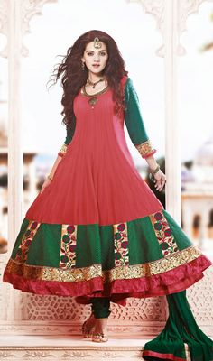 Red and Green Shade Flared Georgette Long Anarkali Suit Price: Usa Dollar $185, British UK Pound £109, Euro136, Canada CA$200 , Indian Rs9990.