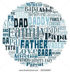 Word Cloud for Father's day that includes the word father in different languages in letters in a shape that represents the world. - stock photo
