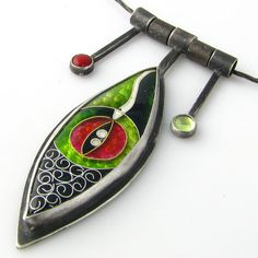 Red Cloisonne Necklace Charms Oxidized Sterling Silver Green Enamel 'Cat's Eye'