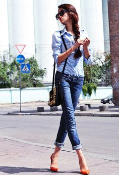 The 15 Best Street Style Looks For Spring aazing braid, chambray shirt, cuffed jeans, heels