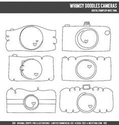 Laune Doodles Kameras digitale Briefmarken Clipart von MissTiina, $4.50