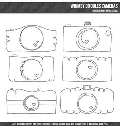 Whimsy Doodles Cameras Digital Stamps Clipart Clip Art Illustrations - instant download - limited commercial use ok on Etsy, $4.50