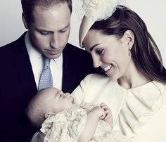 The Duke and Duchess of Cambridge with their son, Prince George after his christening on 23rd October 2013