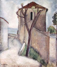 Амедео Модильяни -  Дерево и дом  (1919) -  Хайфа. Музей Реувена и Эдит Гехт (Израиль)