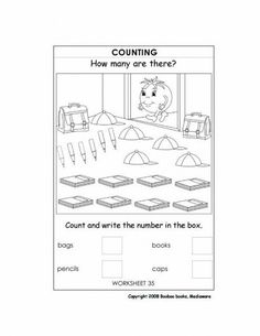 Printable kindergarten worksheet - Counting