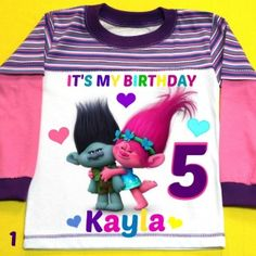 Trolls Birthday Girl shirt Long Sleeve Personalized with child name and age.