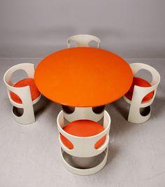 Arne Jacobsen, dining suite 1970s.