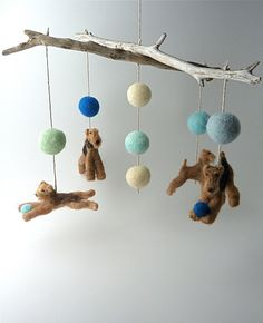 Baby Mobile, Felted Wool Dogs, Custom Dog Breeds, Terriers with Natural Driftwood, 4 Figures