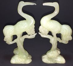 """Antique Chinese Carved Jade Heron Bird Figure Pair 4 1/8"""" Tall Qing Dynasty"""