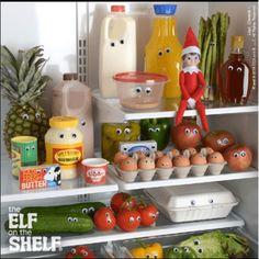 Googly eyes on everything in the fridge!