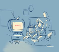 Isabelle chilling with Netflix - Animal Crossing New Leaf