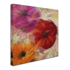 """Trademark Art 'Penchant for Poppies I' by Color Bakery Painting Print on Wrapped Canvas Size: 35"""" H x 35"""" W x 2"""" D"""