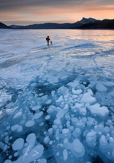 Highly flammable Methane Bubbles trapped in the ice of Abraham Lake in Alberta, Canada.