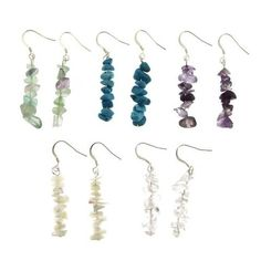 Set of 5 Dangle Stone Chip Earrings - Purple, Clear, Green/Purple, Blue and…