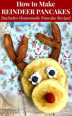 A light fluffy pancake recipe and instructions for assembling your own Reindeer Pancakes with bacon antlers make a fun Christmas breakfast for your family. Yummy #christmas #breakfast idea!