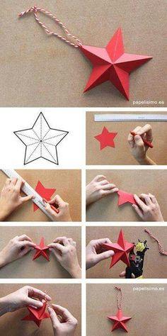 como-hacer-estrellas-de-papel-paper-stars-diy More - Weihnachten Ideen Diy Christmas Star, Diy Christmas Ornaments, Origami Christmas, Diy Paper, Paper Crafts, Origami Paper, Diy Y Manualidades, Star Diy, 3d Star