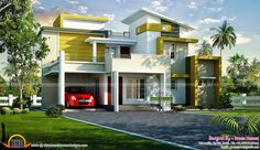 Beautiful rendering of contemporary home - 4 bedroom, double storied. (Ground floor 2 - First floor 2) ♣ http://www.keralahousedesigns.com/2015/02/beautiful-rendering-of-contemporary-home.html?spref=pi
