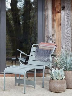 Fermob Luxembourg Lounge in Cactus at Flora Grubb Gardens Outdoor Kitchen Patio, Indoor Outdoor Living, Outdoor Spaces, Outdoor Chairs, Modern Garden Furniture, Simple Furniture, Outdoor Furniture, Flora Grubb, Lounge Seating