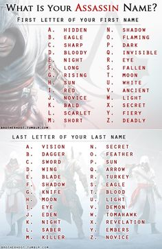 What is your assassin name? Mine is (lamely) Eagle Eagle! <<< its the assassin version of Moon Moon! Oh and mine is hidden moon. Funny Name Generator, Assassin Names, Fantasy Names, Name Games, Funny Names, What Is Your Name, First Names, Writing Inspiration, Writing Prompts