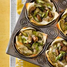Although not conventional, wonton wrappers are the perfect stand-in for noodles in this muffin-tin mini lasagna recipe.