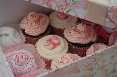baby girl cupcake and baby essentials gift box