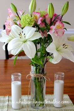 Beautiful flower arrangement by whatscookingwithruthie.com #flowers #home