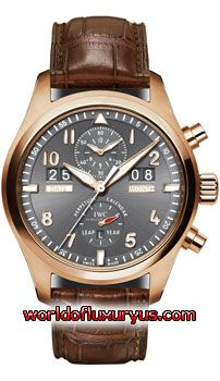 IW379103 - Solid 18kt rose gold case with a fine brushed/satin finish & polished finished beveled corners, bezel, crown & chronograph buttons. Ardoise slate grey colored dial with a very fine brushed sunray surface. Polished rose gold hands with luminous fill. - See more at: http://www.worldofluxuryus.com/watches/IWC/Discontinued-Models/IW379103/185_789_5268.php#sthash.yfXFDzBU.dpuf