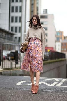 Tucking in a high neck jumper into a floral midi skirt for an Autumn update