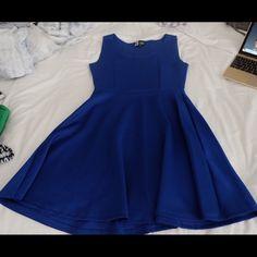 Skater dress, electric blue Electric blue, polyester and spandex, skater dress Dresses