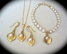 Gold calla lily set  Necklace Earrings and by QueenMeJewelryLLC, $112.99