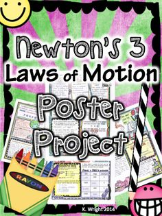 Newton's 3 Laws Poster Project. Helps students review each law in detail with visuals and examples to enhance understanding. Includes example/key!