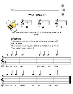 Bee Mine: A BAG Recorder Composition for Elementary Music.great for Valentine's… Piano Lessons, Lessons For Kids, Music Lessons, Recorder Karate, Recorder Music, Bee Activities, Music Activities, Music Worksheets, Music Classroom