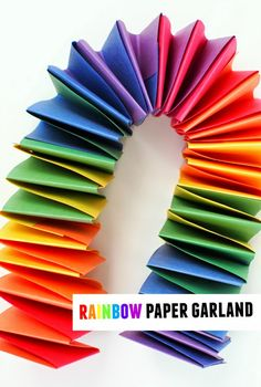 how to make a slinky rainbow paper garland