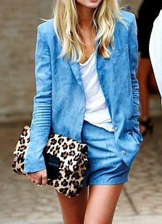 Super stylish short suit + cheetah clutch