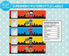 Superhero Water Bottle Labels  Printable Birthday by TheGiftOfFun