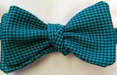 Bow Tie Logic Teal and Black Mini Hounds Tooth Woven Cotton Self Tie Bow Tie. $29.99, via Etsy.