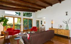 Living room with beamed and vaulted ceilings. 1950 Mid-Century home in Mt. Washington