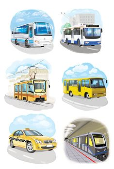 Сообщество иллюстраторов | Иллюстрация Любомир Бейгер - пасажирский транспорт. Детский. Растровая (цифровая) графика