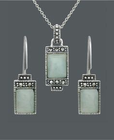 Genevieve & Grace Sterling Silver Pendant and Earrings Set, Jade and Marcasite Rectangle - Gemstones - Jewelry & Watches - Macy's